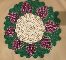 "Vintage Crocheted Doily Raised Grapes Green White Purple 16"" Centerpiece"