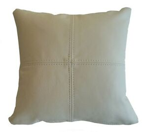 Real Leather Scatter Cushion - Cream - Small & Large Sizes Available