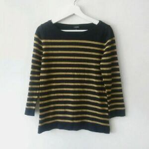 Jaeger Womens Pure Wool Navy Mustard Yellow Striped 3/4 Sleeve Jumper S Breton