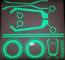 TRON STYLE HELMET REFLECTIVE DECAL STICKERS GREEN BE SEEN NIGHT MOTORBIKE EU DE