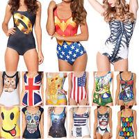 Sexy Womens Print One-Piece Bikini Swimwear Swimsuit Beachwear Monokini Bodysuit
