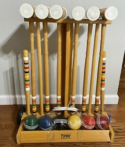 Exc Vtg FORSTER 6 Player Complete CROQUET SET Wheeled Cart Stand
