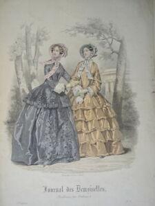 BELLE GRAVURE DE MODE COULEUR FEMME COSTUME ENFANT COIFFE ROBE DECORATION 1850