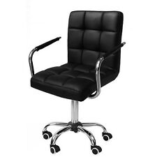 Modern Adjule Pu Faux Leather Swivel Computer Office Desk Chair With Castors