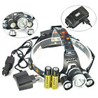 BORUIT 12000LM 3x XML T6+2R5 LED Headlamp Headlight Torch USB Lamp+Charger+18650