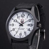 Men's Military Leather Waterproof Sports Quartz Analog Army Quartz Wrist Watches