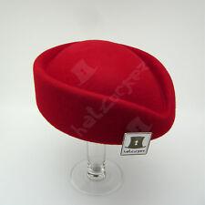 CLASSIC Wool Felt Ladies Fascinator Women Pillbox Hat Party Cloche | 56cm | Red