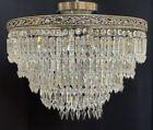 Vintage Crystal Spear Prism Wedding Cake Chandelier Semi Flush Mount Silver