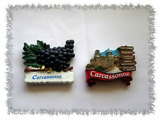 Lot de 2 Aimants Magnets Cité de Carcassonne  Raisins Résine Neufs