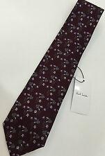 Paul Smith COLOR PRUGNA Cravatta MAINLINE 100% Seta Floreale 9cm Made in Italy