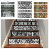 6Pcs 3D Mosaic Stair Riser Decals Wall Tile Stickers Self Adhesive Wallpaper Art