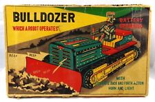 ** BOXED 1957 LINEMAR JAPAN ROBOT BULLDOZER TOY BATTERY OPERATED **