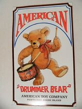 American Drummer Bear American Toy Company Pawtucket Rhode Island Tin Metal Sign