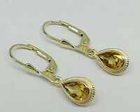 E089 Classic Genuine 9K Solid Gold NATURAL Citrine Drop Earrings Lever-back Hook