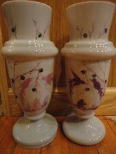 "Bristol Glass Vase (Pair) Pink/Lt Lavender Hand Painted 10-3/4"" T Birds Vintage"
