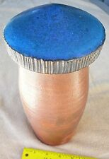 "Pottery vase with lid mushroom style 11 1/2"" tall 5"" diameter Free ship"