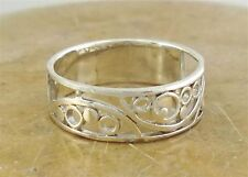 PRETTY .925 STERLING SILVER FILIGREE SWIRL BAND RING size 9  style# r1912