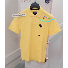 ABERCROMBIE & FITCH MENS EXPLODED ICON STRETCH POLO SHIRTS YELLOW SIZE LARGE A&F