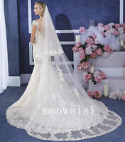 2T Wedding Veil Lace Edge 3M Long Cathedral Length White Ivory Bridal Veil Comb