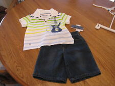 Boy's Baby Kenneth Cole jean shorts polo shirt 6/9 MO months