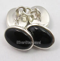 "925 Solid Silver CABOCHON BLACK ONYX Cufflinks 0.6"" Good Friday Sales"