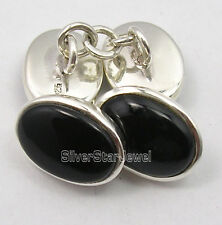 """925 Solid Silver CABOCHON BLACK ONYX New Cufflinks 0.6"""" SEMI PRECIOUS GEMSTONE"""