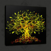 GREEN ABSTRACT TREE MODERN WALL ART PICTURE CANVAS PRINT READY TO HANG