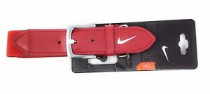 "Nike Adult Leather Baseball Belt Scarlet Red & White Adjustable 28"" - 43"" Waist"