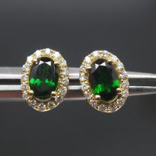 Natural Green Tsavorite 4x6mm Oval 14K Solid Yellow Gold Diamond Studs Earrings