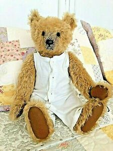"""Georgie"" by Shirley Meyer mohair bear, jointed, w/underwear, mint w/tag"