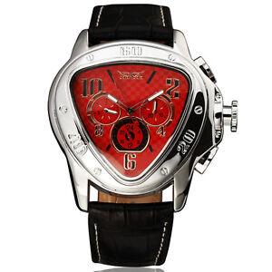 JARAGAR Herrenuhr TRIANGLE RED Leder Armband Uhr NEU automatisch-mech