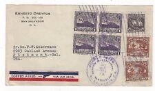 1936 San Salvador El Salvador, Commercial Airmail to Piedmont CA