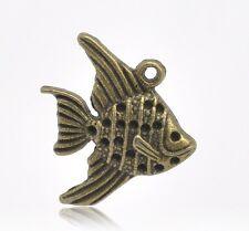 5 x Pesce 21x19mm Ciondolo Charm color bronzo Lega di zinco antico