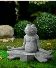 Solar Frog Buddha Decoration - Grey Border Garden Light