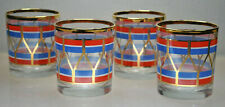 VINTAGE SET OF (4) RED, WHITE, BLUE DRUM DESIGN ROCKS GLASSES MID CENTURY