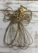 VINTAGE CHRISTMAS LA BONA ANGELICA GOLD WIRE & BEADS FORM ANGEL TREE ORNAMENT