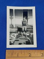 Antique Shoals, Indiana History Photo Young Boy Basketball Jersey Wrestling VTG