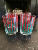 4 Domostyle Georges Briard rocks glasses green red stripes Vtg 60s MCM Christmas