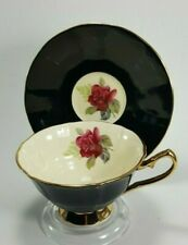 Elizabethan Cabbage Rose, Black, Gold, Majestic Footed Teacup Tea Cup and Saucer