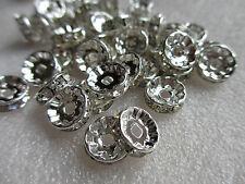 100 Rhinestone Silver Plated Rhinestone Spacer Crystal Beads 10mm Crafts Making