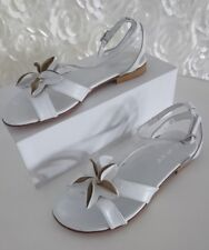 SANDALETTE PLATEAU SCHUHE PARTY GR. 40 Weiß Sommer MADE IN ITALY Blume