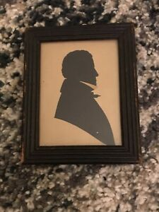 Antique Master Hubard Gallery Papyrotomic Man Silhouette with Makers Label 1800s