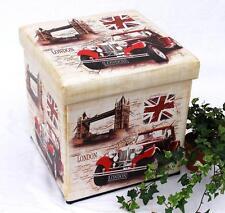 Taburete de piel artificial 2219 Caja Almacenamiento 40cm cubo-asiento APARADOR