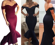 Navy Off shoulder Mermaid Jersey Evening Dress womens party Black Sexy Prom S 2X