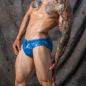 Men's Metallic Shiny Faux Leather Swim Briefs Trunks Bikini Swimwear Underwear