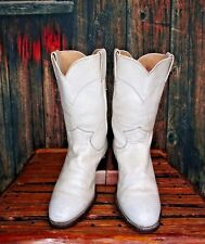 Ladies White Leather Justin Cowboy Western Roper Boots sz: 5.5 B