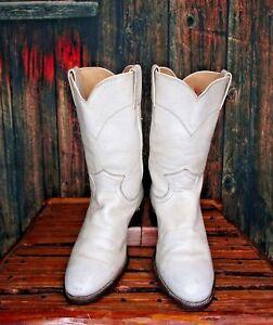 Ladies White Leather Justin Cowboy Western Roper Boots sz: 5.5 B