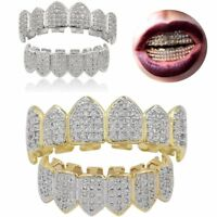 18K Gold w/ Silver Plated Top & Bottom Grillz Mouth Teeth Grills High Quality