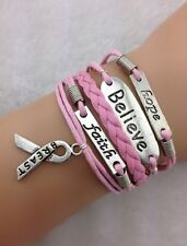 Bracelet rose ruban, believe, breast, faith,  lutte contre le cancer