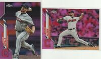 2020 TOPPS CHROME Aaron Civale & Logan Allen RC Cleveland Indians PINK REFRACTOR